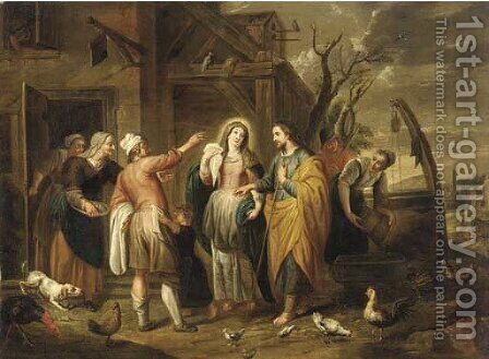 Mary and Joseph at the Inn by (after) Abraham Willemsens - Reproduction Oil Painting