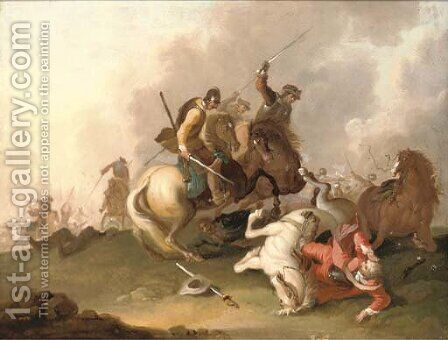 A cavalry skirmish by (after) Adam Frans Van Der Meulen - Reproduction Oil Painting
