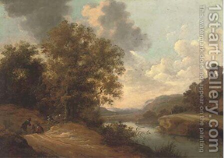 Figures on a path in a river landscape with a hilltop ruin beyond by (after) Adam Pynacker - Reproduction Oil Painting