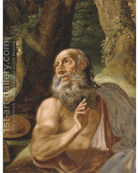 Saint Jerome by (after) Adriaen Bloemaert - Reproduction Oil Painting