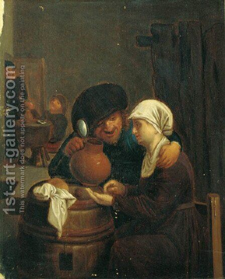 A boor with a serving girl in a tavern interior by (after) Adriaen Brouwer - Reproduction Oil Painting