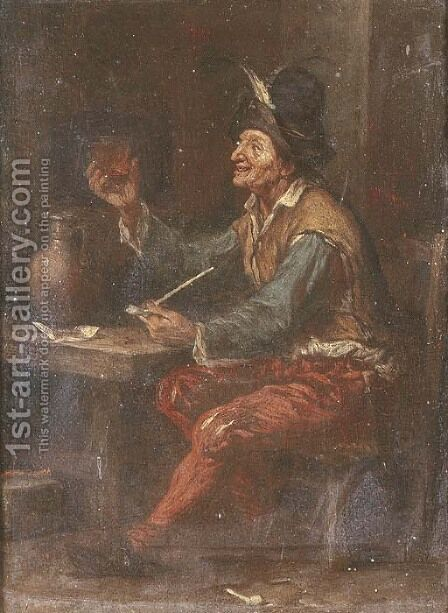 A peasant drinking and smoking at a table in an inn by (after) Adriaen Brouwer - Reproduction Oil Painting