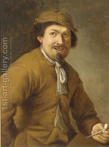 A peasant smoking a clay pipe by (after) Adriaen Brouwer - Reproduction Oil Painting