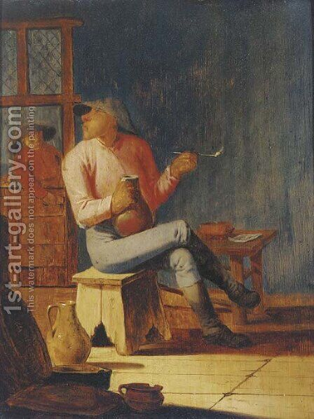 A peasant smoking and drinking in an interior by (after) Adriaen Brouwer - Reproduction Oil Painting