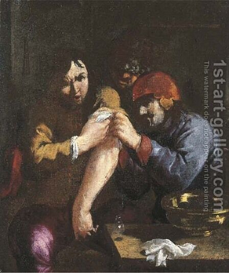 The Sense of Touch A surgeon attending to a man's arm by (after) Adriaen Brouwer - Reproduction Oil Painting