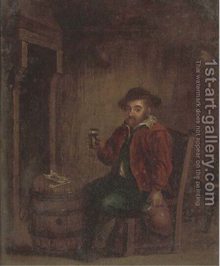 A boor drinking in an interior by (after) Adriaen Jansz. Van Ostade - Reproduction Oil Painting