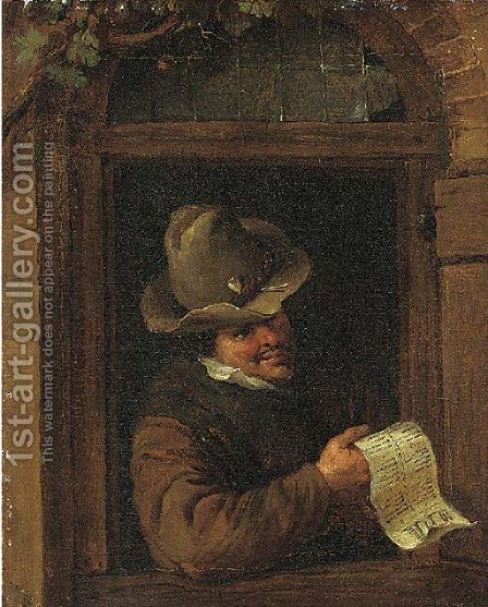 A young man at a niche by (after) Adriaen Jansz. Van Ostade - Reproduction Oil Painting