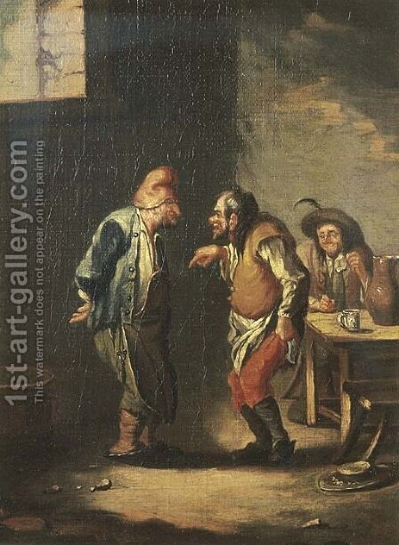 Boors conversing and smoking in an inn by (after) Adriaen Jansz. Van Ostade - Reproduction Oil Painting