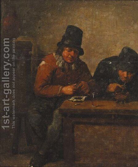 Boors smoking in an interior by (after) Adriaen Jansz. Van Ostade - Reproduction Oil Painting