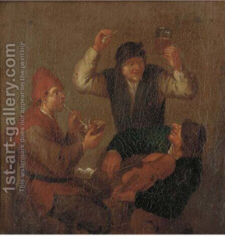 Peasants making merry in a tavern 2 by (after) Adriaen Jansz. Van Ostade - Reproduction Oil Painting