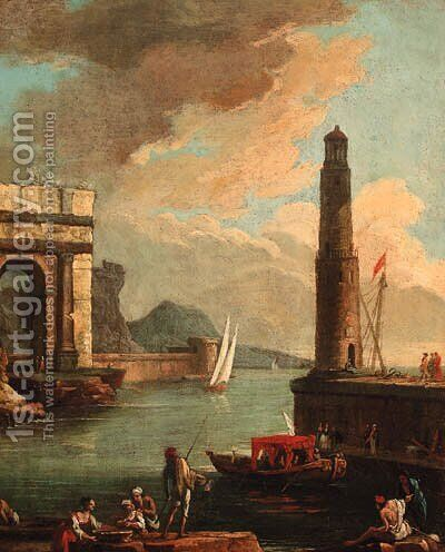 A Mediterranean harbour with peasants on the shore with a launch by a quayside and a tower beyond by (after) Adriaen Manglard - Reproduction Oil Painting