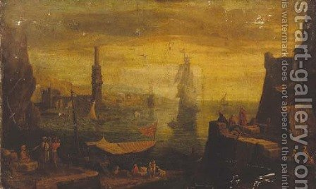 A Mediterrean harbour at sunset by (after) Adriaen Manglard - Reproduction Oil Painting