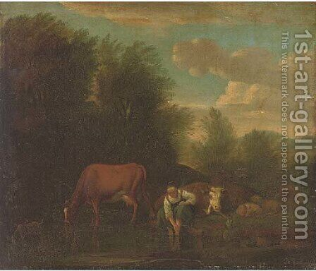 A landscape with a woman bathing at a river with cattle by (after) Adriaen Van De Velde - Reproduction Oil Painting