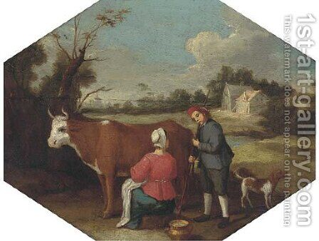 A milkmaid milking a cow with a farmhand in a landscape by (after) Adriaen Van De Velde - Reproduction Oil Painting
