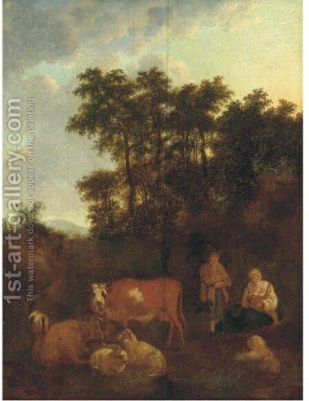 A pastoral landscape with a shepherd at rest with cattle and sheep by (after) Adriaen Van De Velde - Reproduction Oil Painting