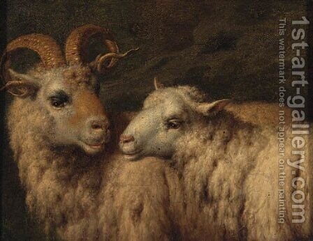 A Ram and a Ewe by (after) Adriaen Van De Velde - Reproduction Oil Painting