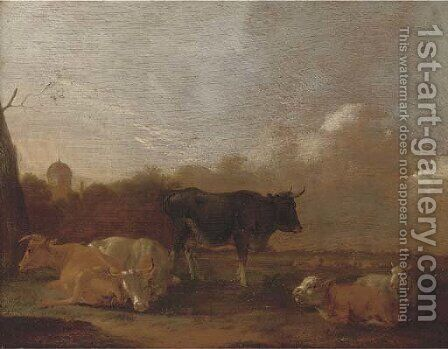 Cattle resting in a landscape by (after) Adriaen Van De Velde - Reproduction Oil Painting