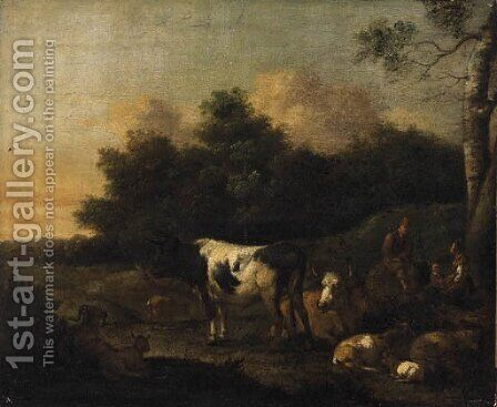 Drovers with Cattle in a Landscape by (after) Adriaen Van De Velde - Reproduction Oil Painting