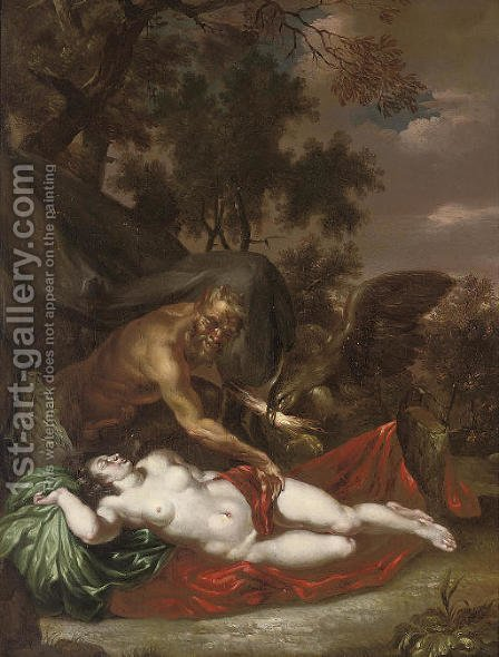 Antiope surprised by Jupiter by (after) Adriaen Van Der Werff - Reproduction Oil Painting