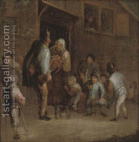 A hurdy-gurdy player with peasants outside a tavern by (after) Adriaen Jansz. Van Ostade - Reproduction Oil Painting