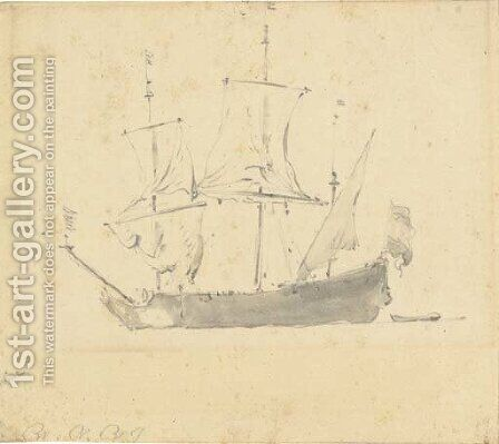 A ship by (after) Adriaen Jansz. Van Ostade - Reproduction Oil Painting