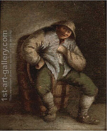A peasant seated in an interior by (after) Adriaen Jansz. Van Ostade - Reproduction Oil Painting