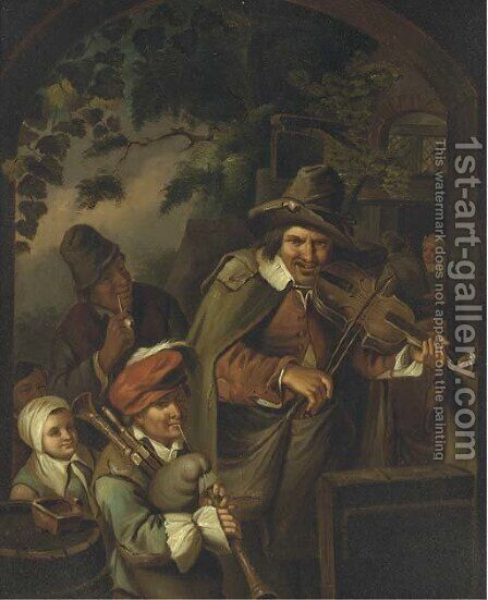 Musicians outside a tavern by (after) Adriaen Jansz. Van Ostade - Reproduction Oil Painting