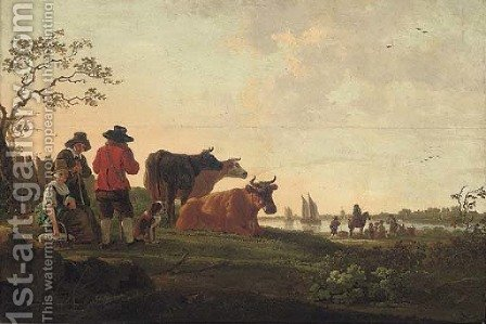 A river landscape with a drover, his cattle and other figures by (after) Aelbert Cuyp - Reproduction Oil Painting
