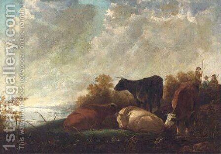 Cattle at rest by a river, drovers beyond by (after) Aelbert Cuyp - Reproduction Oil Painting