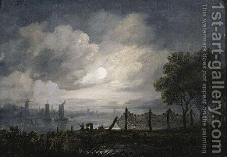 A moonlit river landscape with anglers by (after) Aert Van Der Neer - Reproduction Oil Painting