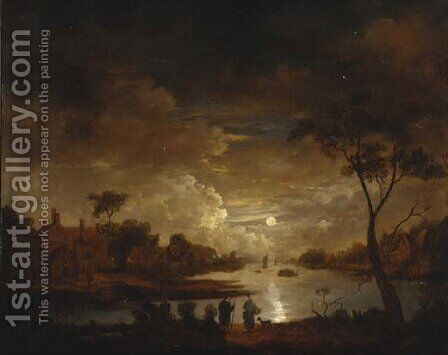 A moonlit river landscape with figures on a track, cottages beyond by (after) Aert Van Der Neer - Reproduction Oil Painting