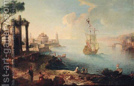 A capriccio of an Eastern harbour with fisherfolk on the shore, a man-o'-war beyond by (after) Agostino Tassi - Reproduction Oil Painting