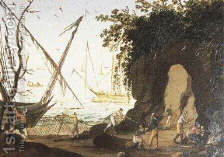A rocky coastline with fishermen bringing in their nets by (after) Agostino Tassi - Reproduction Oil Painting