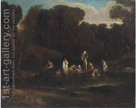 A landscape with Nymphs bathing at a wooded pool by (after) Albert Meyering - Reproduction Oil Painting