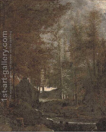 A wooded landscape with a mill by a river by (after) Albert Van Everdingen - Reproduction Oil Painting