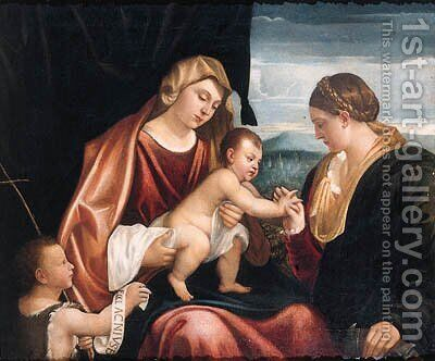 The Mystic Marriage of Saint Catherine by (after) Alessandro Bonvicino (Moretto Da Brescia) - Reproduction Oil Painting