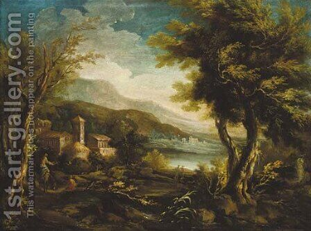 A mountainous Italianate landscape with figures and a donkey before a church by (after) Alessandro Magnasco - Reproduction Oil Painting