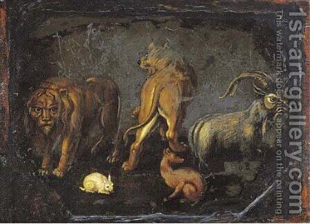 Lions, a goat, a rabbit and a dog by (after) Alessandro Turchi (Orbetto - Reproduction Oil Painting