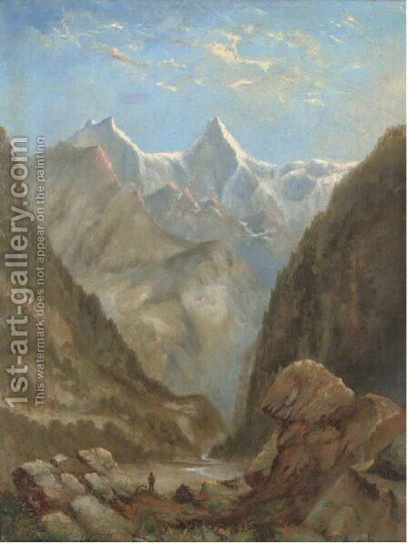Figures in an Alpine landscape by (after) Alexander Calame - Reproduction Oil Painting