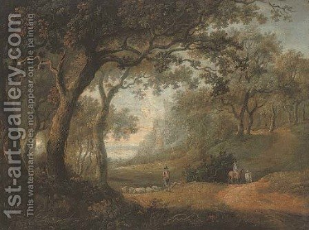 A wooded landscape with a shepherd and his flock, and a figure riding on a track by (after) Alexander Nasmyth - Reproduction Oil Painting