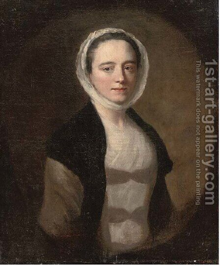 Portrait of a lady, bust-length, in a white dress and black shawl by (after) Allan Ramsay - Reproduction Oil Painting