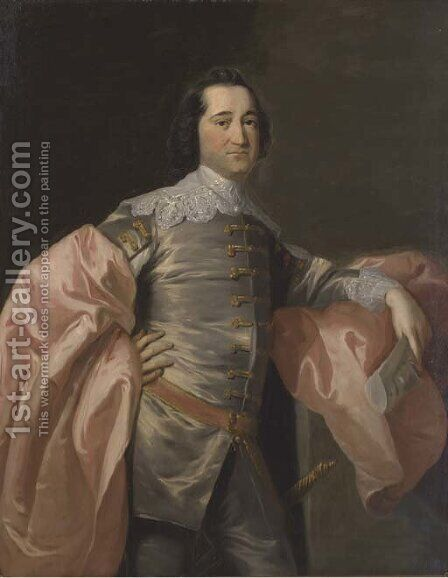 Portrait of gentleman, three-quarter-length, in a grey jacket and pink wrap by (after) Allan Ramsay - Reproduction Oil Painting