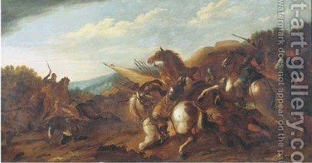 A cavalry skirmish by (after) Andrea De Lione - Reproduction Oil Painting