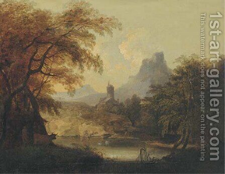 A landscape with a tower by a lake by (after) Andrea Locatelli - Reproduction Oil Painting