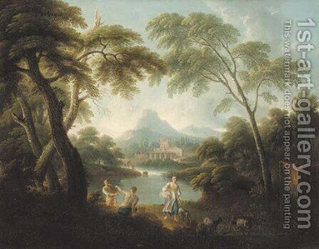 An Italianate river landscape with fishermen and a shepherdess by (after) Andrea Locatelli - Reproduction Oil Painting