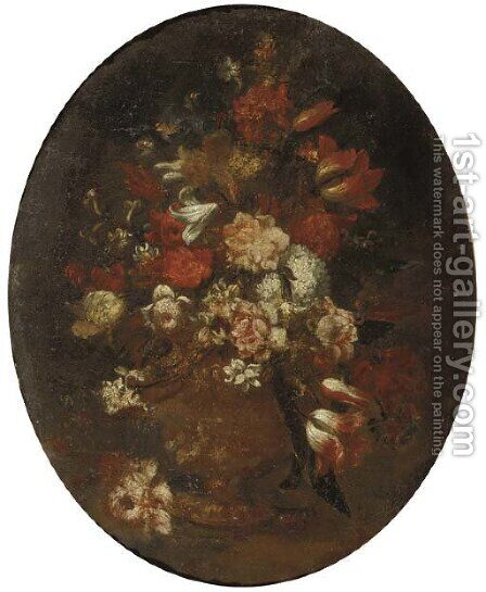 Mixed flowers in a vase by (after) Andrea Scacciati - Reproduction Oil Painting
