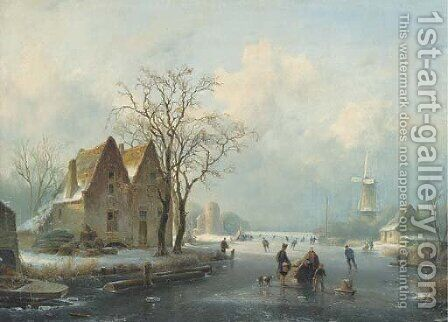 Winter skating by (after) Andreas Schelfhout - Reproduction Oil Painting