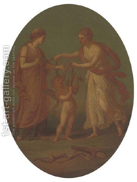 The disarming of Cupid by (after) Kauffmann, Angelica - Reproduction Oil Painting