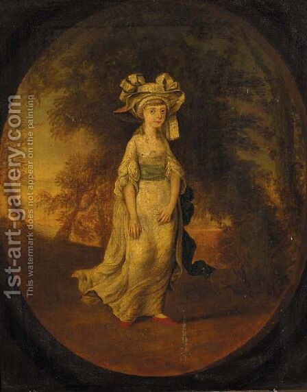 Portrait of a girl, small full-length, in a white dress with blue sash, in a landscape, feigned oval by (after) Kauffmann, Angelica - Reproduction Oil Painting