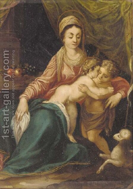 The Madonna and Child with the Infant Saint John the Baptist by (after) Annibale Carracci - Reproduction Oil Painting